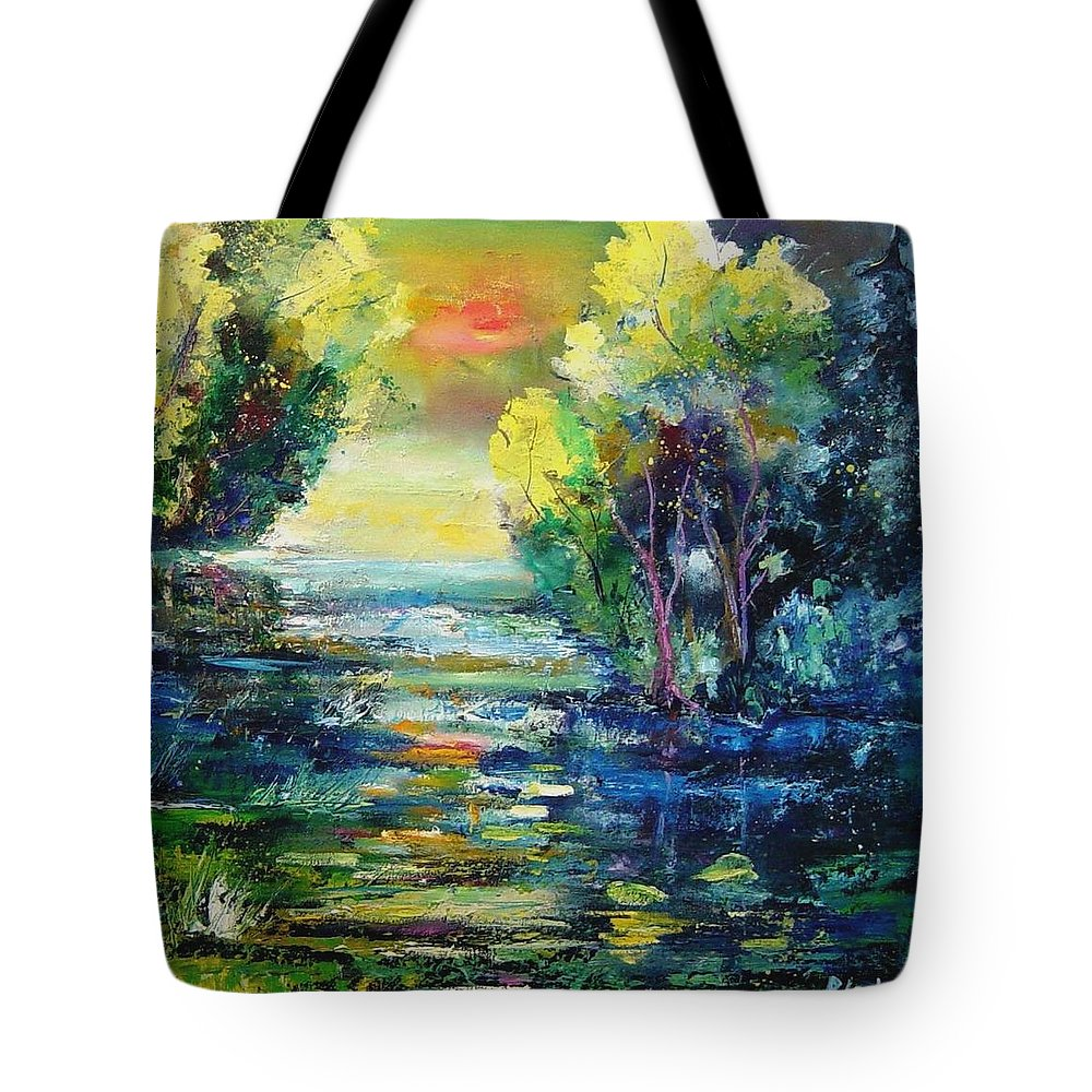 Pond Tote Bag featuring the painting Magic Pond by Pol Ledent