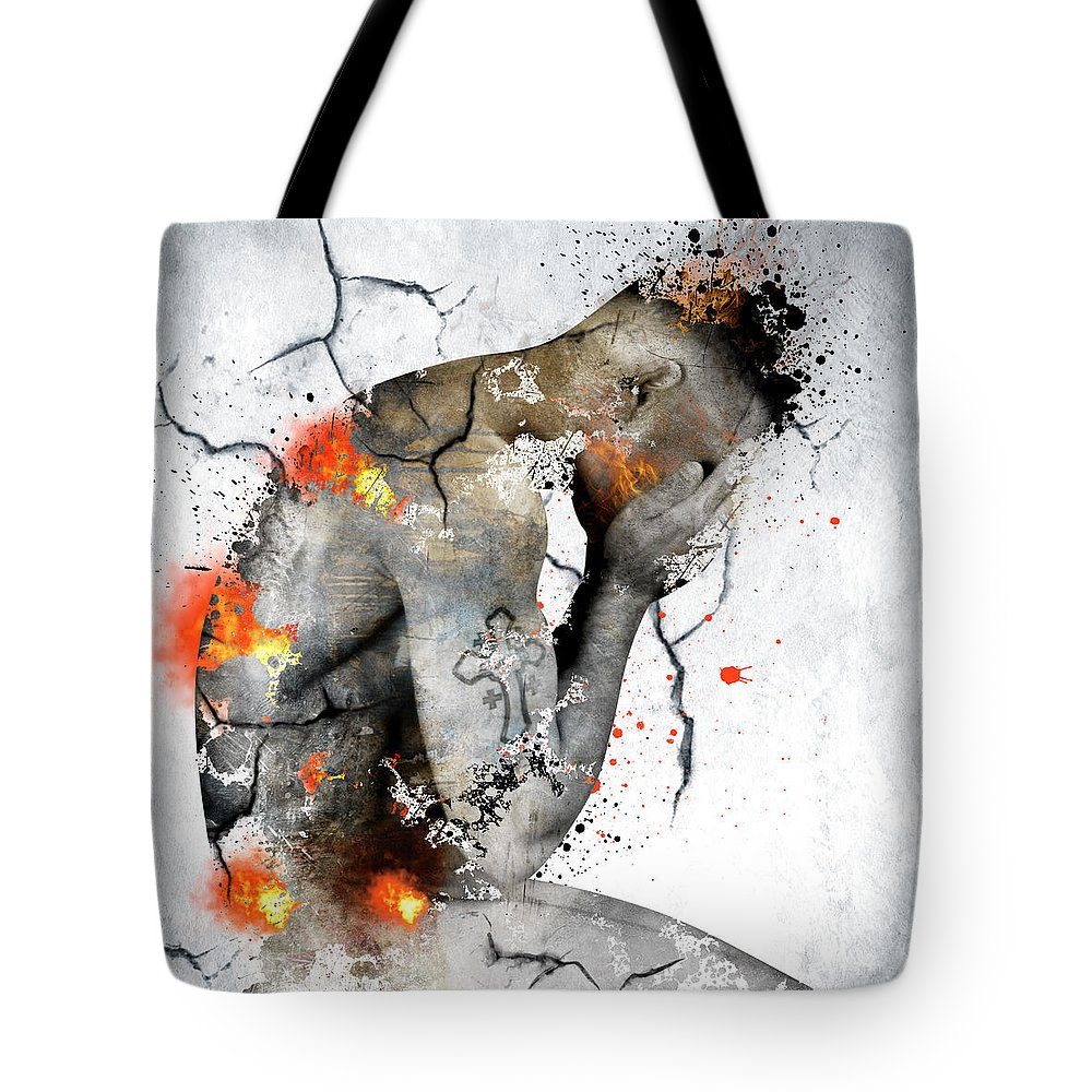 Male Nude Tote Bag featuring the painting Male Nude by Mark Ashkenazi