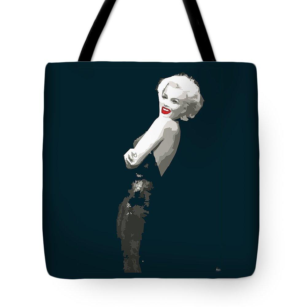 Marilyn Tote Bag featuring the digital art Marilyn Monroe Happy by Quim Abella