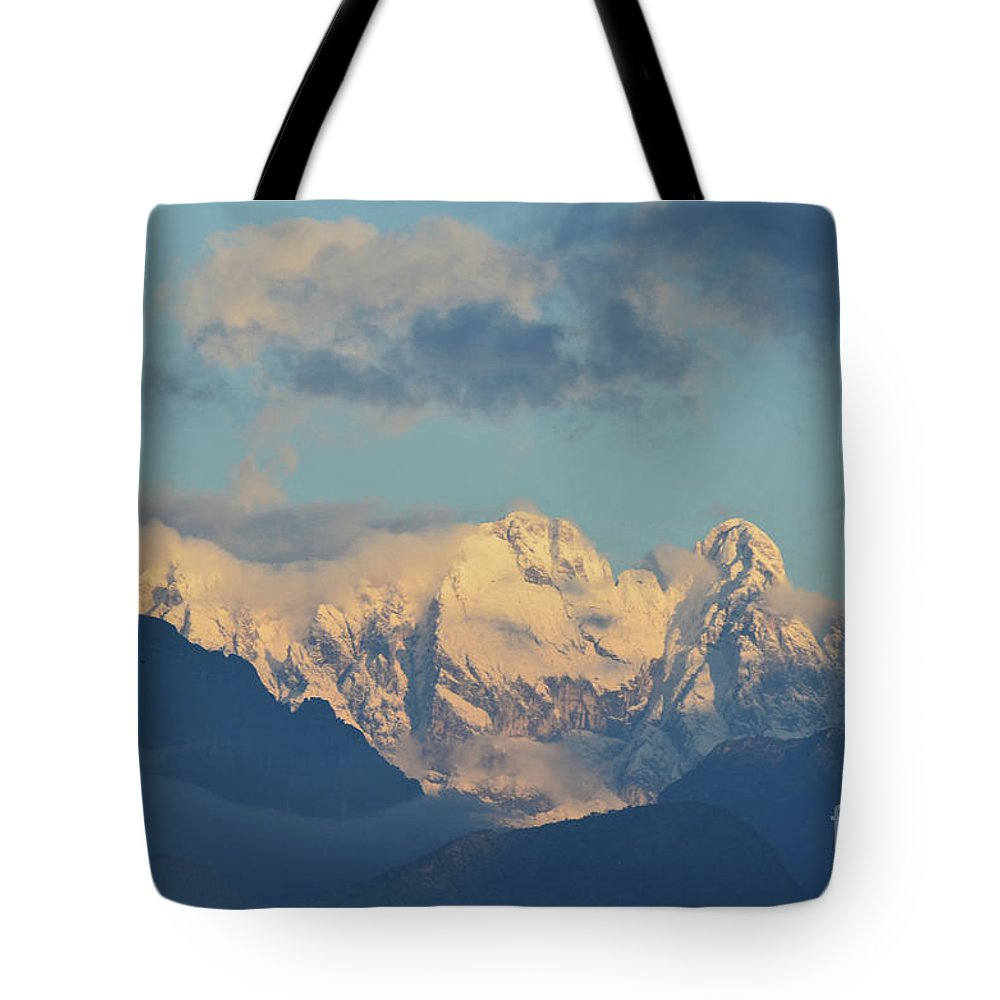 Mountains Tote Bag featuring the photograph Massive Snow Caped Mountains In The Countryside Of Italy by DejaVu Designs