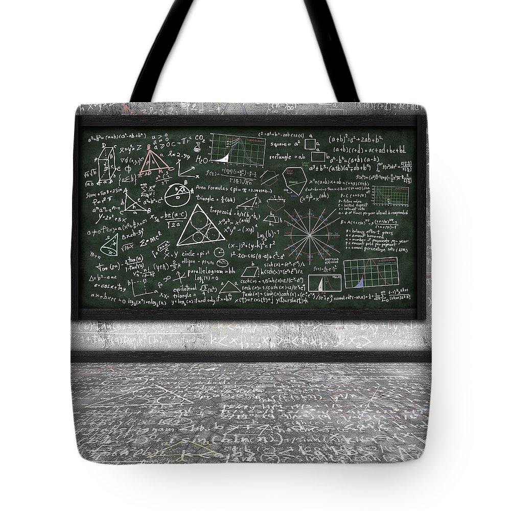 Algebra Tote Bag featuring the photograph Maths Formula On Chalkboard by Setsiri Silapasuwanchai