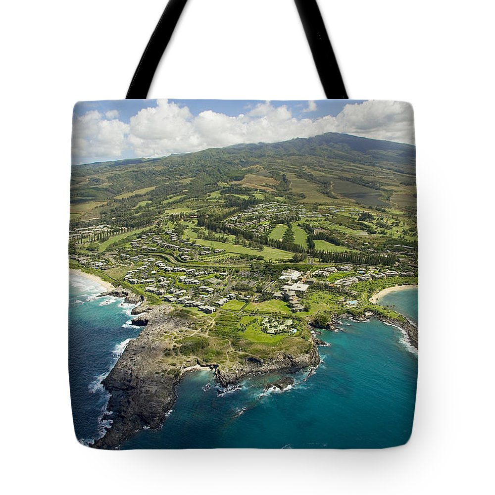 Above Tote Bag featuring the photograph Maui Aerial Of Kapalua by Ron Dahlquist - Printscapes