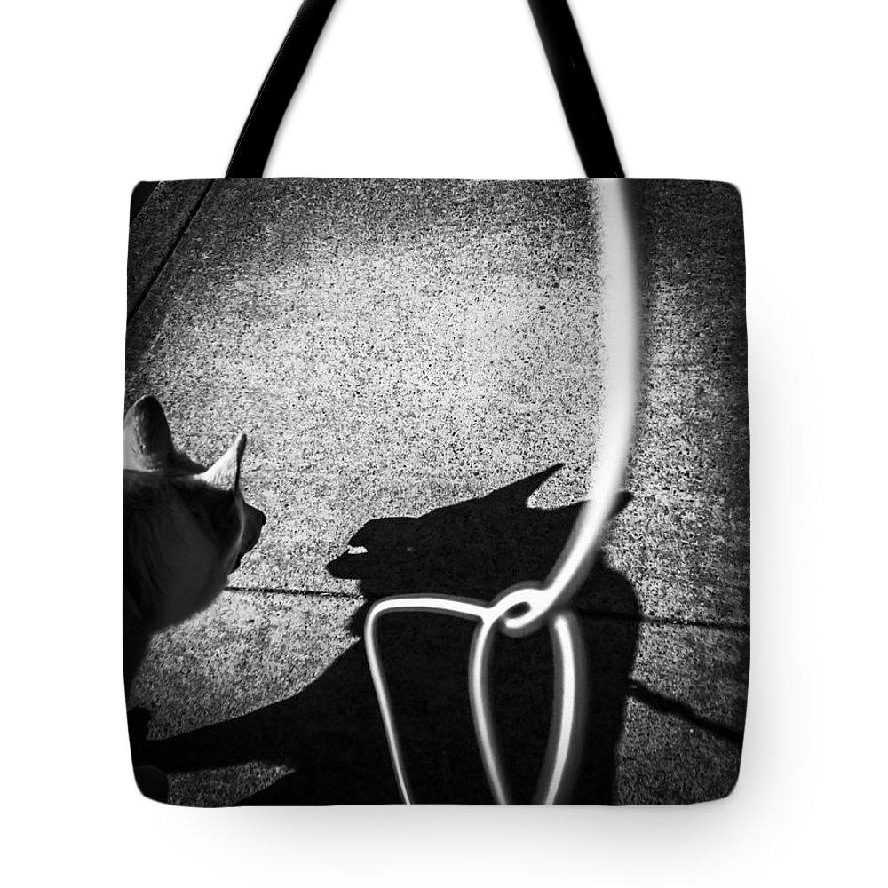 Me And My Shadow Digital Art Tote Bags