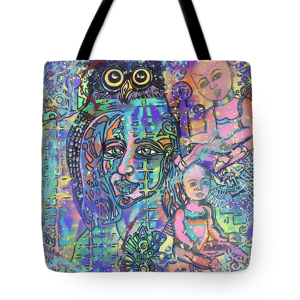 Owl Tote Bag featuring the mixed media Memories by Anita Wexler