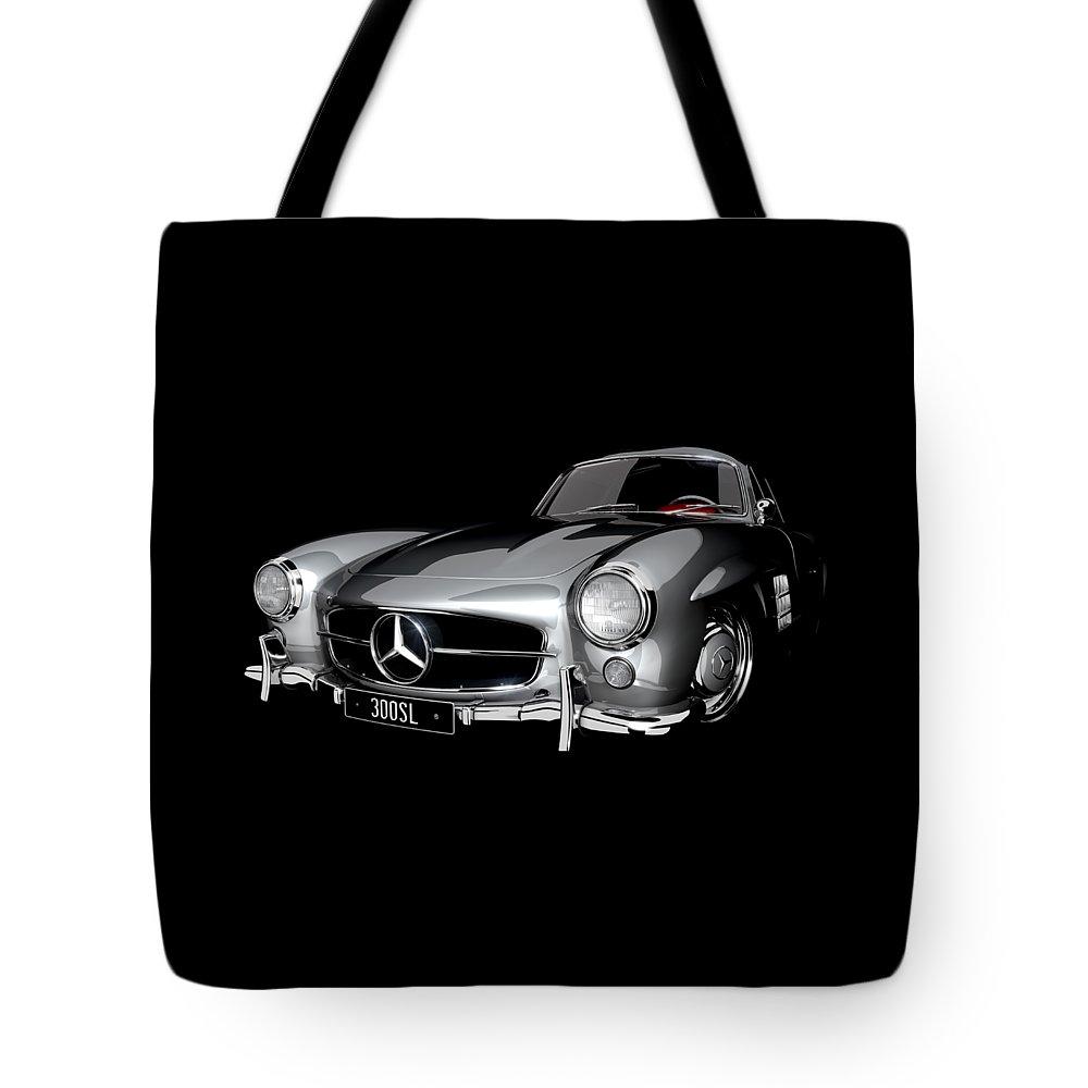 300sl Tote Bag featuring the digital art Mercedes-benz 300sl by Dan Lennard