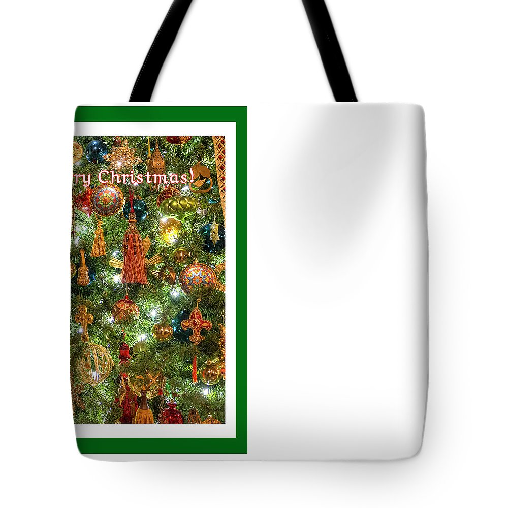 Cardinal Red Bird Fowl Pine Tree Christmas Tree Light Midwest Greeting Card Winter December 25th Tote Bag featuring the photograph A Merry Christmas by Diane Lindon Coy