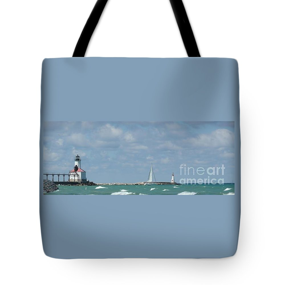 Scenery Tote Bag featuring the photograph Michigan City Beach Lighthouse by Barb Montanye Meseroll