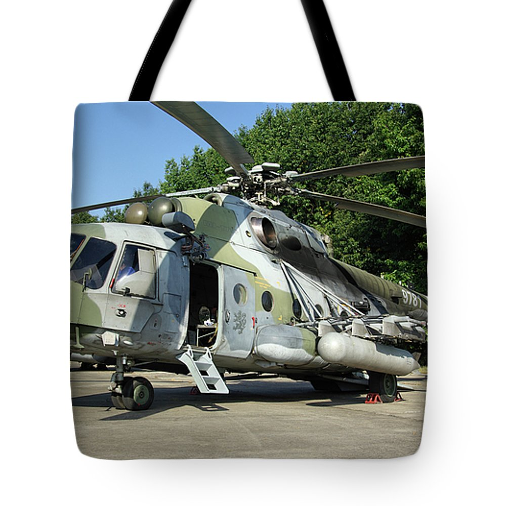 Mil Mi-17 Hip Assault Helicopter Air Force Nato Days Ostrava Czech Republic September 2011 Aircraft Aeroplane Airplane 9781 Tote Bag featuring the photograph Mil Mi-17 Hip by Tim Beach
