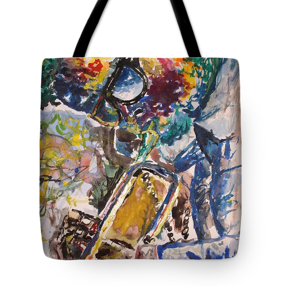 Miles Tote Bag featuring the painting Miles Davis Jazz by Christian Obst