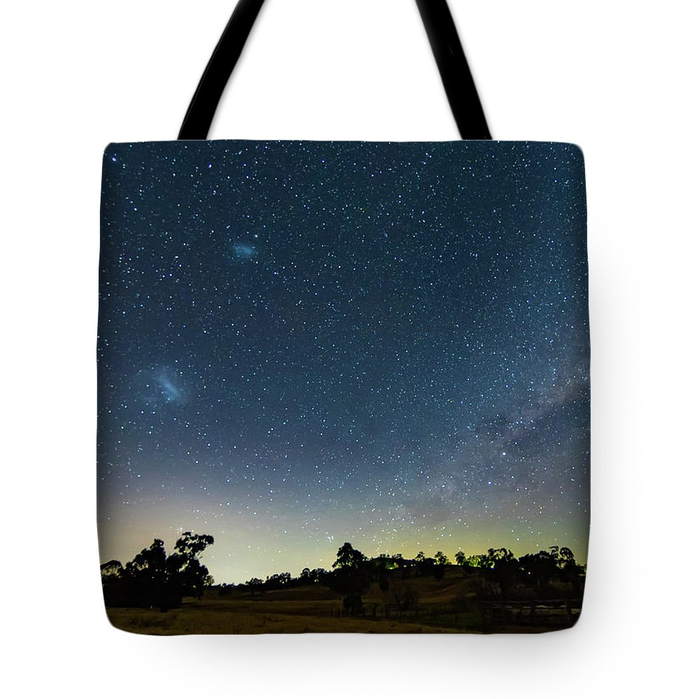 Astro Tote Bag featuring the photograph Milky Way And Countryside by Merrillie Redden