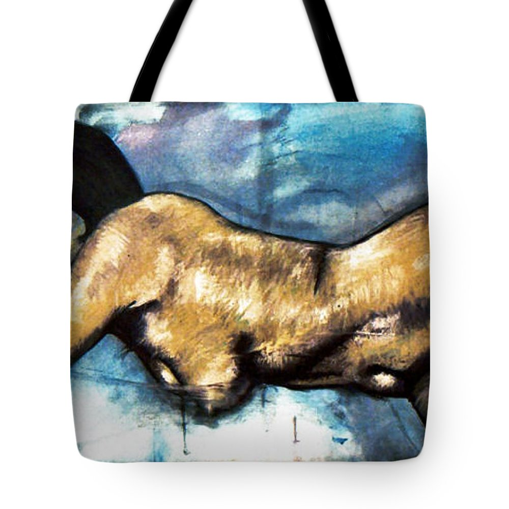 Nude Tote Bag featuring the painting Missy by Thomas Valentine
