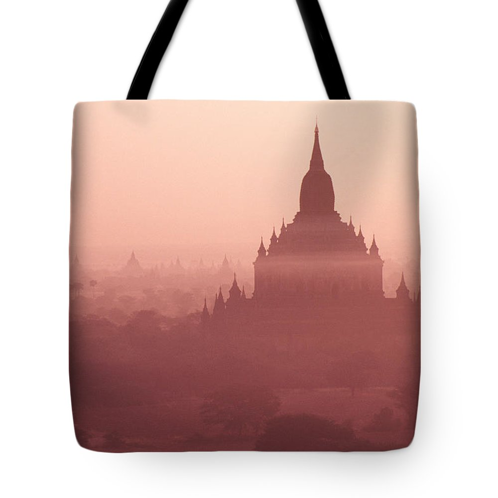 Mist Tote Bag featuring the photograph Misty Dawn In Bagan by Michele Burgess