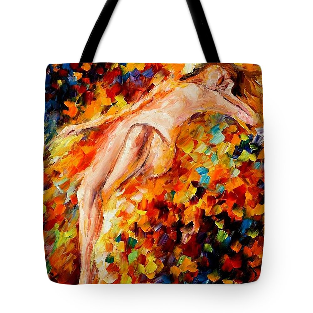 Afremov Tote Bag featuring the painting Misty Love by Leonid Afremov
