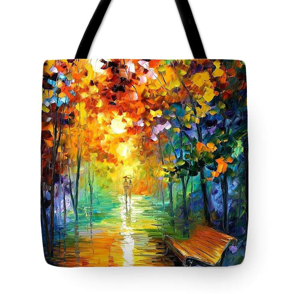 Afremov Tote Bag featuring the painting Misty Park by Leonid Afremov