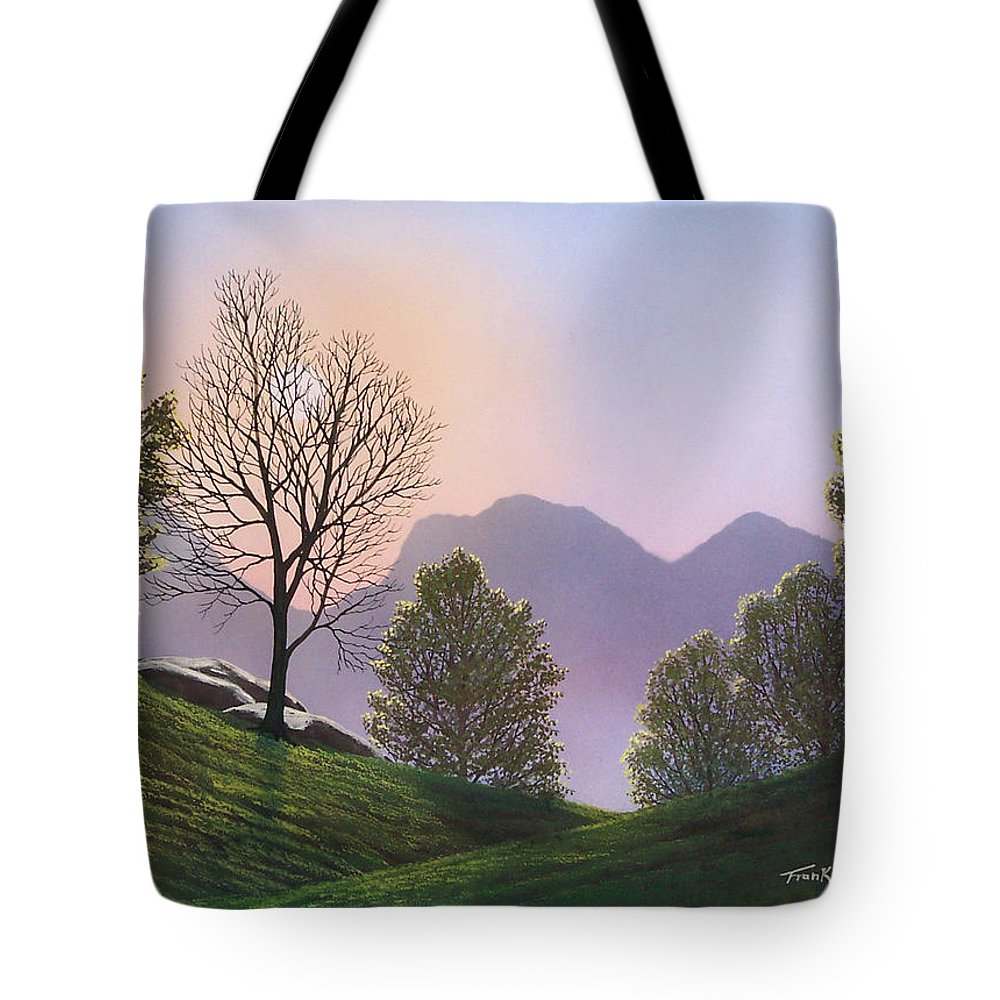 Landscape Tote Bag featuring the painting Misty Spring Meadow by Frank Wilson