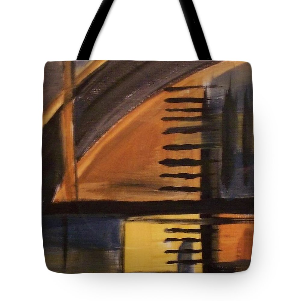 Abstract Tote Bag featuring the painting Modern Architecture 1 by Anita Burgermeister