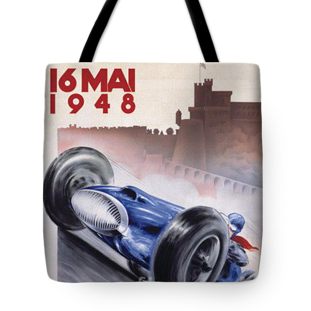 Vintage Tote Bag featuring the painting Monaco Grand Prix 1948 by Nostalgic Prints