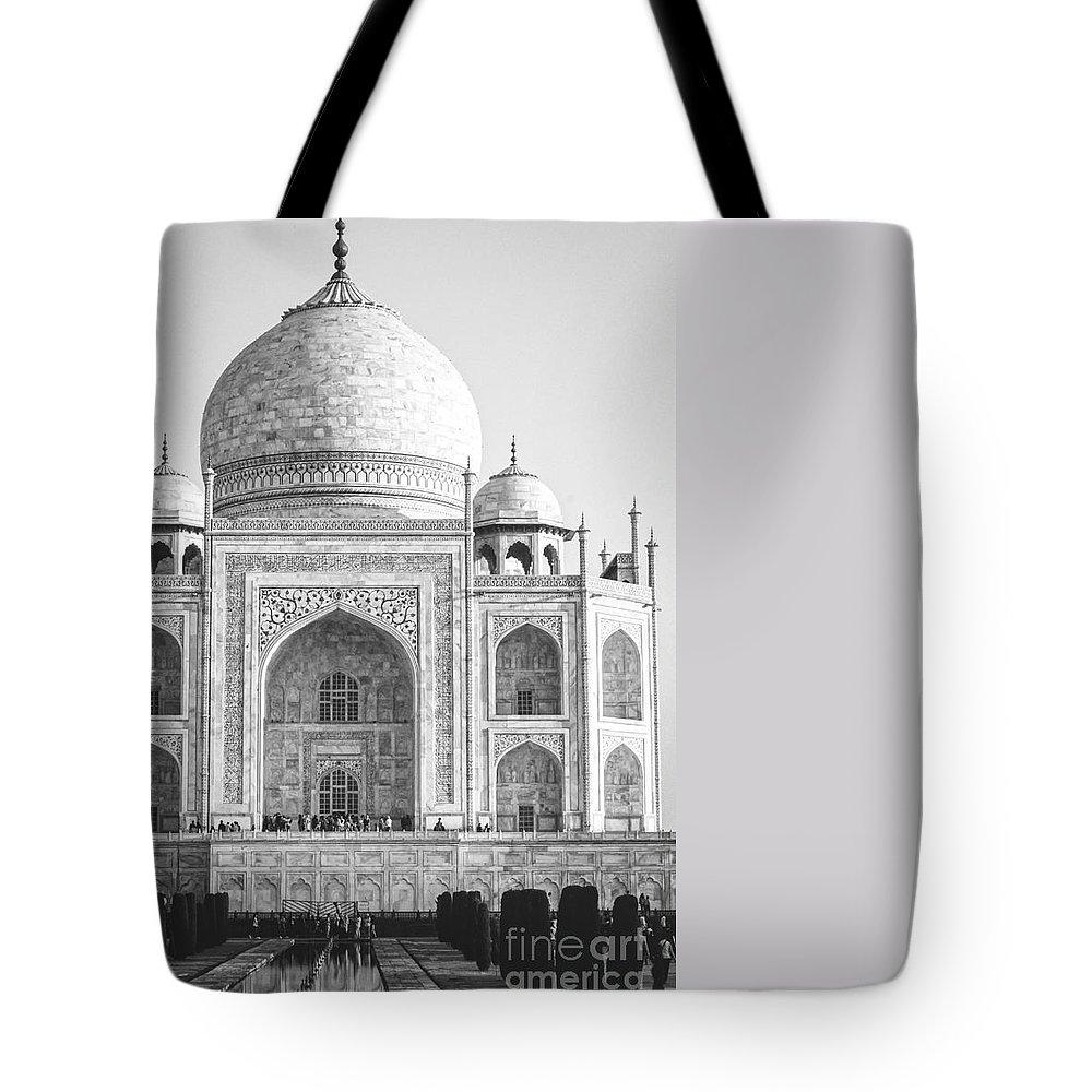 Adventure Tote Bag featuring the photograph Monochrome Taj Mahal - Square by Neha Gupta