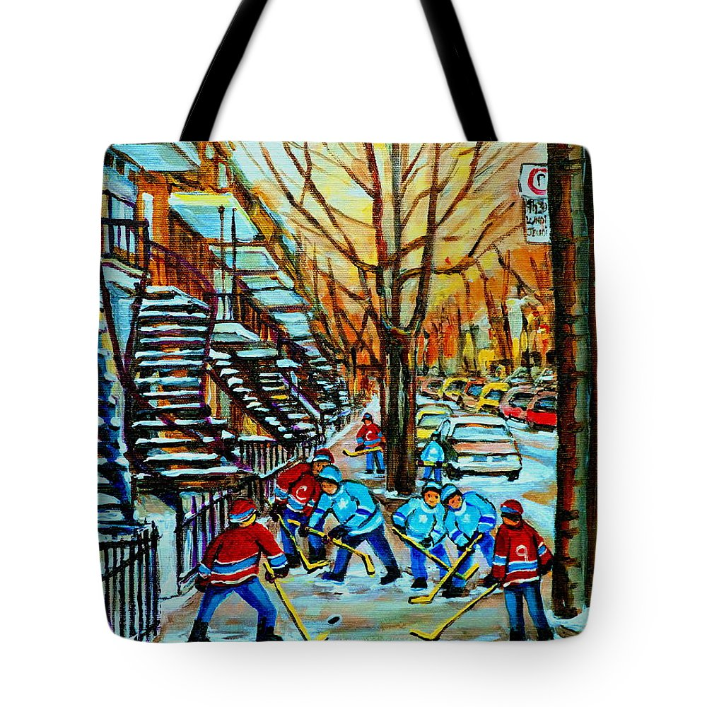 Hockey Tote Bag featuring the painting Montreal Hockey Paintings by Carole Spandau
