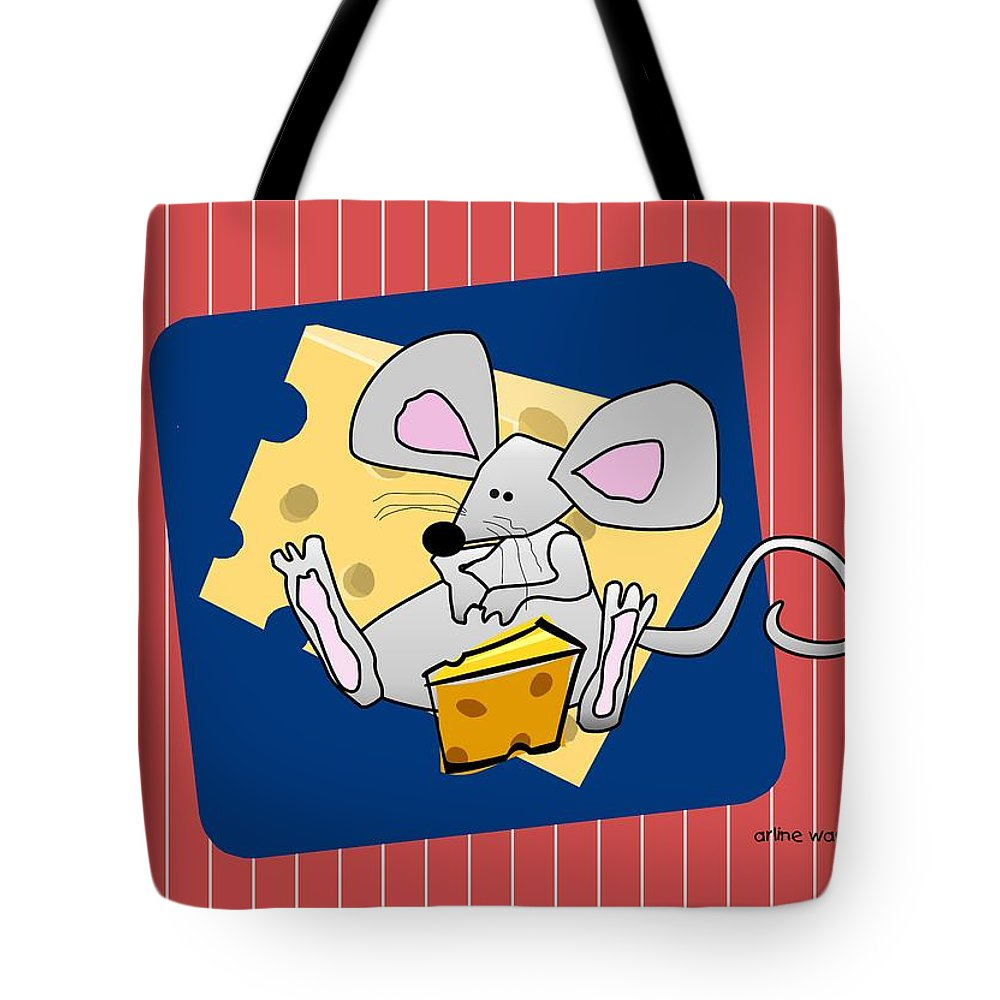 Mouse Tote Bag featuring the digital art Moochie Loves Cheese by Arline Wagner