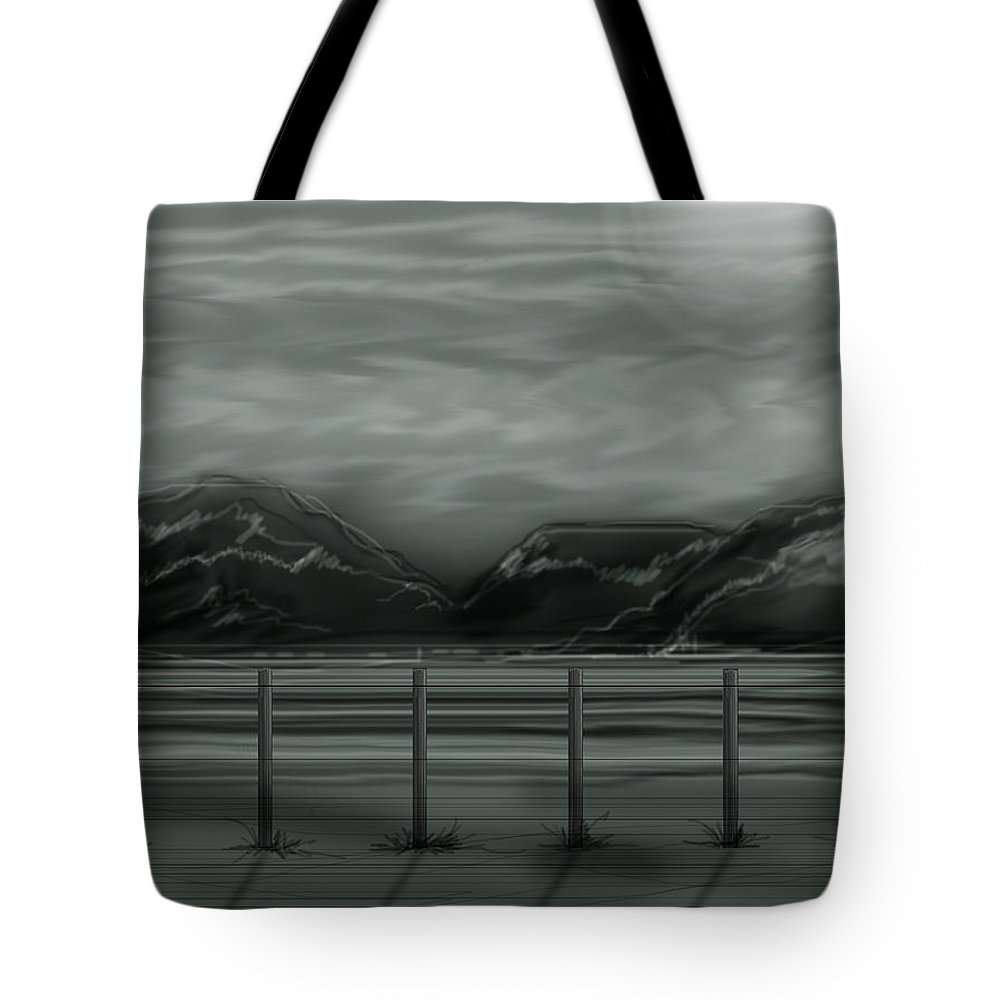 Landscape Tote Bag featuring the painting Moon Over The Beartooth by Anne Norskog