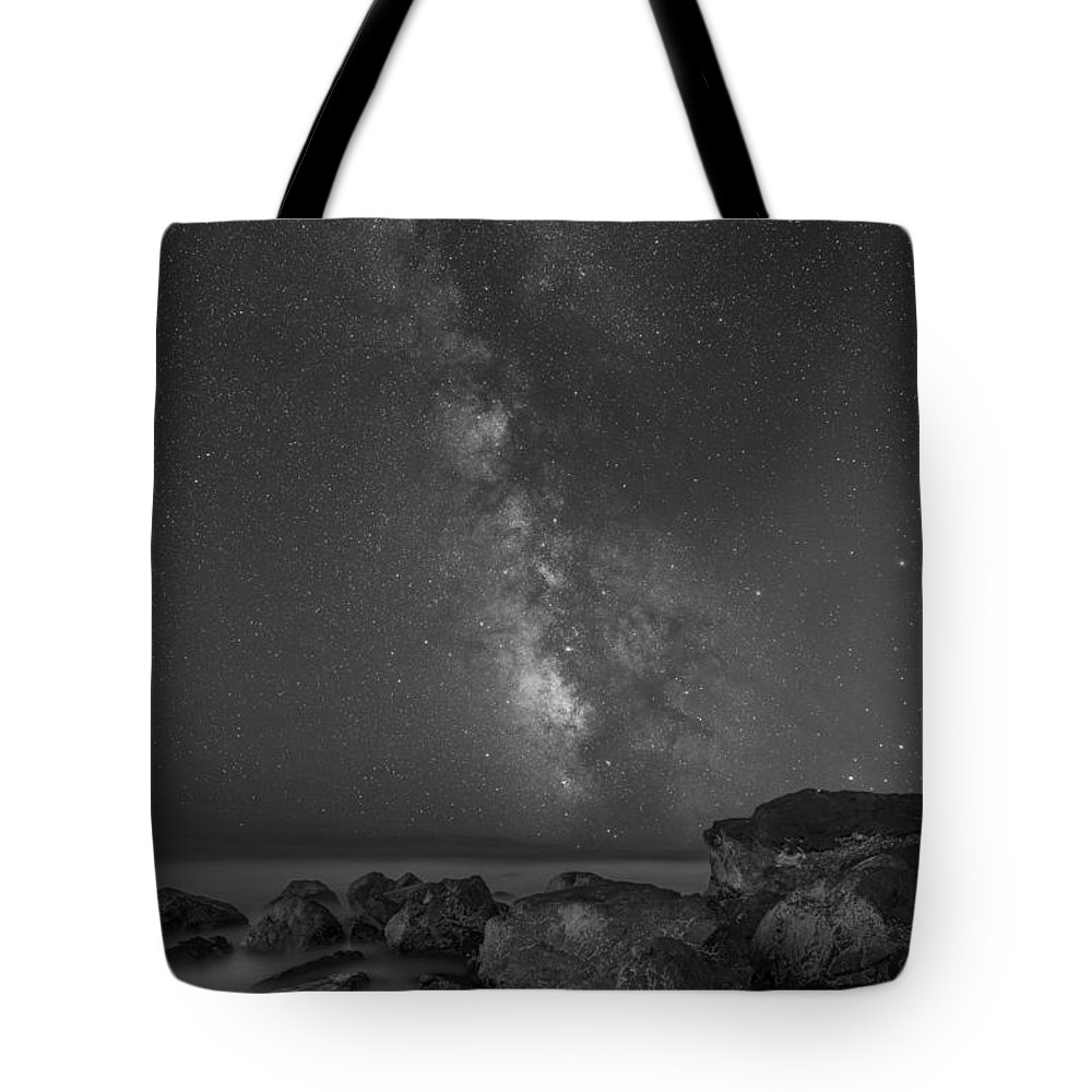Moonlit Tote Bag featuring the photograph Moonlit Beach Milky Way 8x12 by Michael Ver Sprill