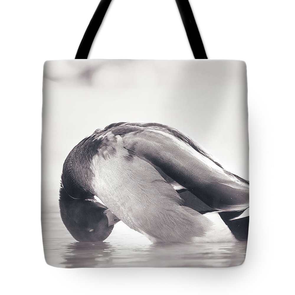 Duck Tote Bag featuring the photograph Morning Bath by Annette Bush