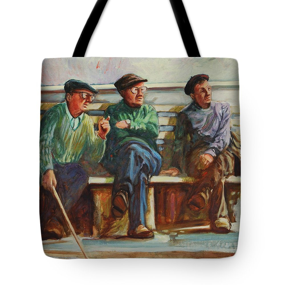 Cafe Tote Bag featuring the painting Morning Chat by Rick Nederlof
