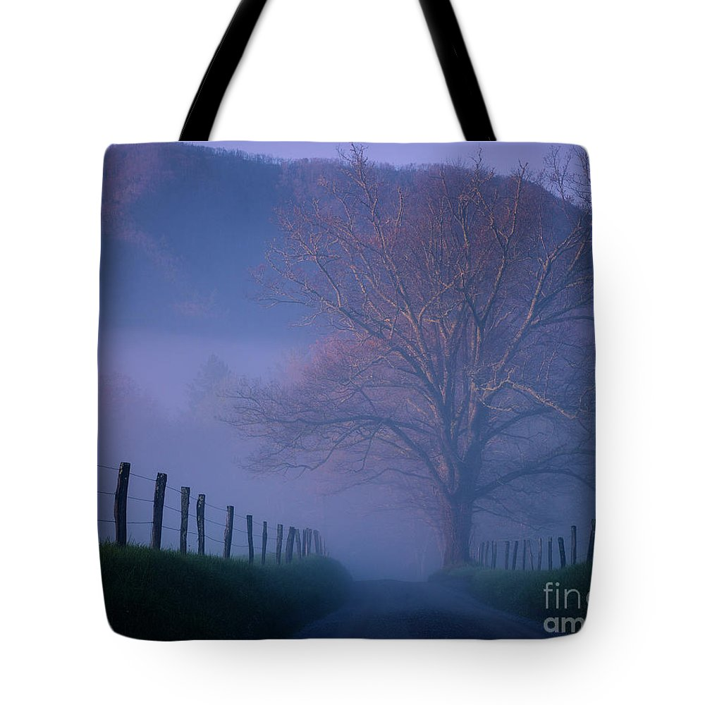 Nature Tote Bag featuring the photograph Morning Fog, #1, Smoky Mountains, Tennessee by Stanton Tubb