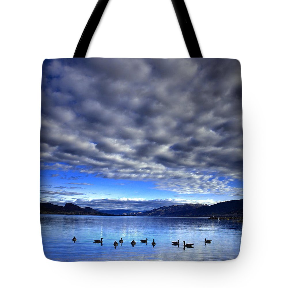 Clouds Tote Bag featuring the photograph Morning Light On Okanagan Lake by Tara Turner