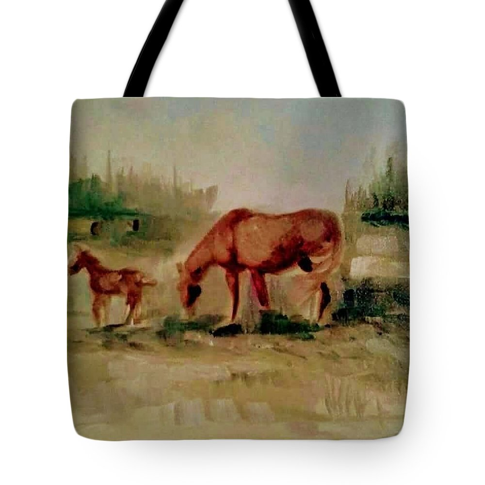 Horses Tote Bag featuring the painting Morning Pasture by Joyce Jenner