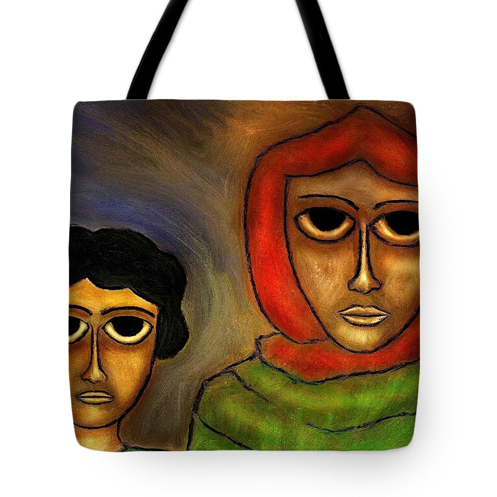 Mother Tote Bag featuring the painting Mother And Child by Rafi Talby