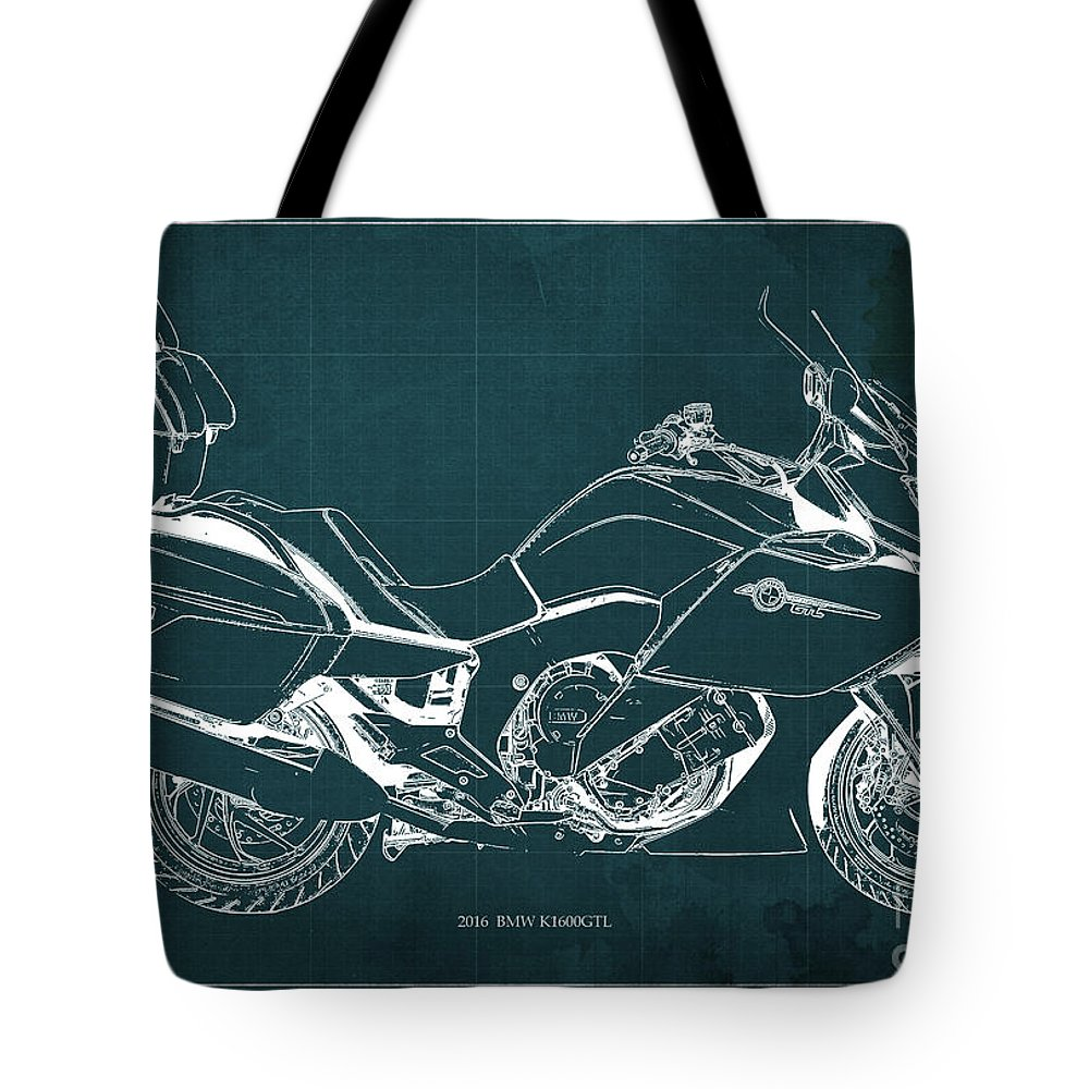 Motorcycle Bmw K1600gtl 2016 Original Blueprint Poster Tote Bag