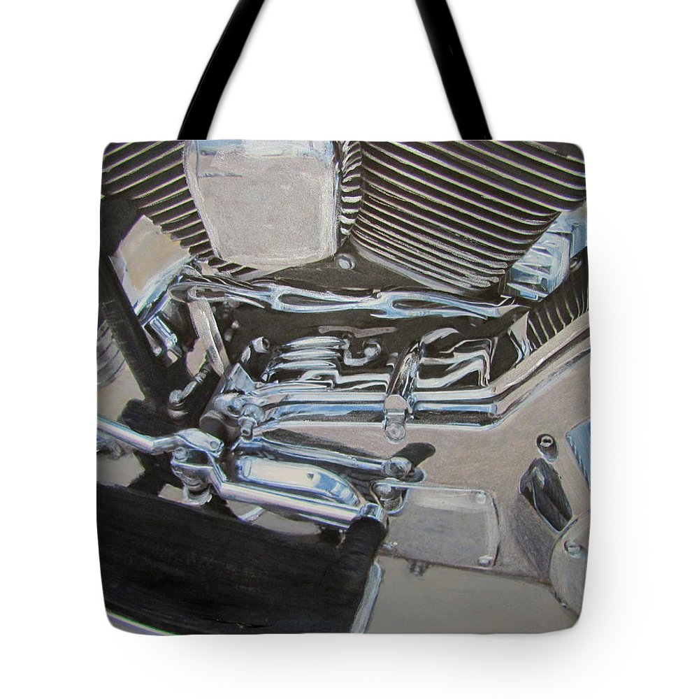 Motorcycle Tote Bag featuring the mixed media Motorcycle Close Up 2 by Anita Burgermeister