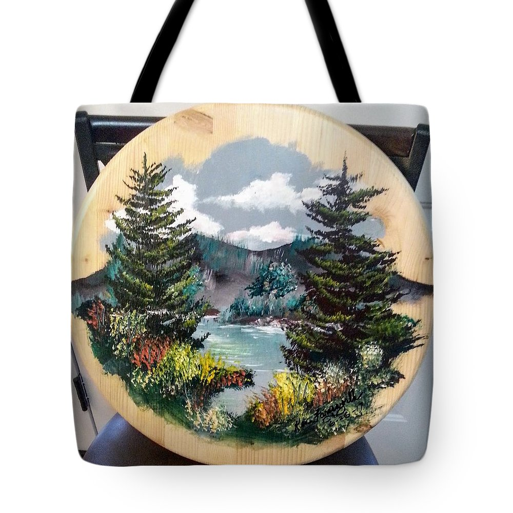 Kandscape Tote Bag featuring the painting Mountain Lake by Ken Farnsworth