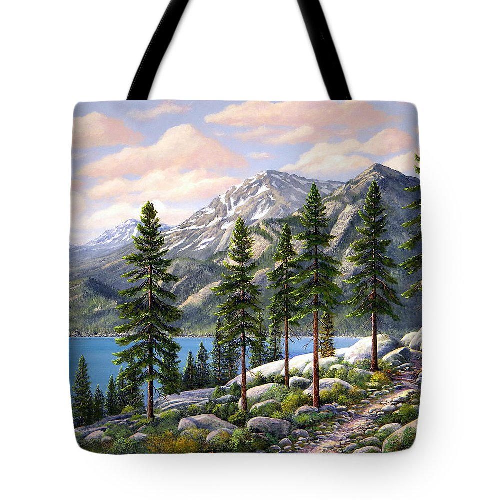 Landscape Tote Bag featuring the painting Mountain Trail by Frank Wilson
