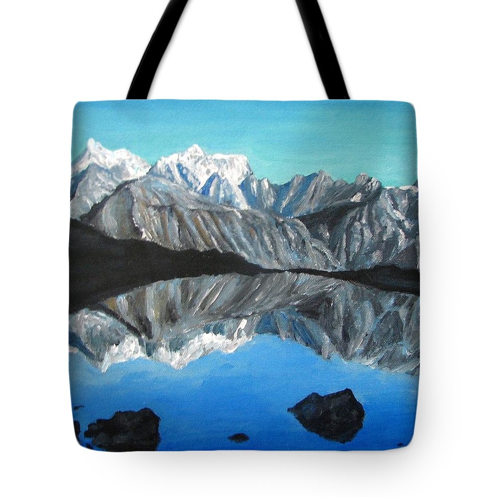 Smoky Mountains Tote Bag featuring the painting Mountains Landscape Acrylic Painting by Natalja Picugina