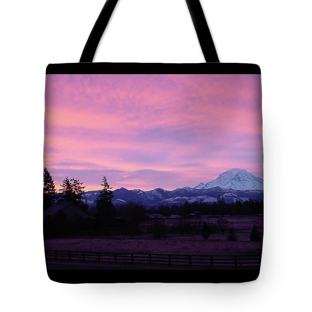 Sunrise Tote Bag featuring the photograph Mt Rainier Frosty Sunrise by Shirley Heyn