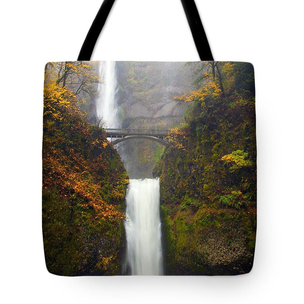 Multnomah Falls Tote Bag featuring the photograph Multnomah Autumn by Mike Dawson