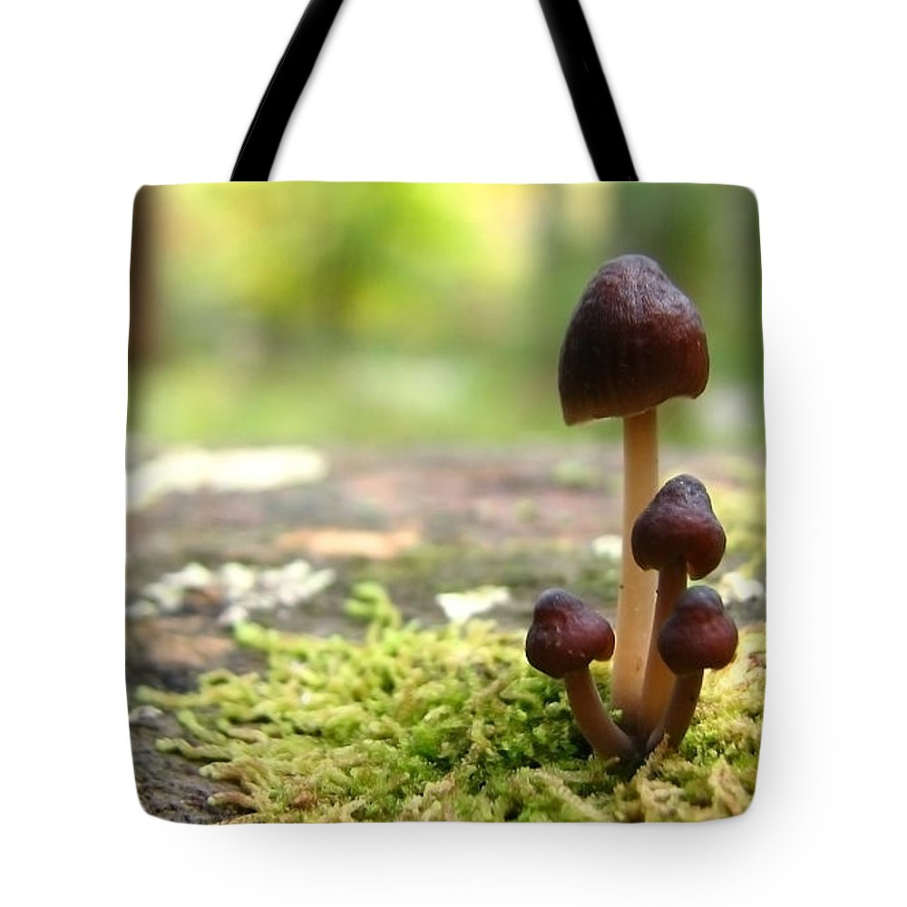 Macro Tote Bag featuring the photograph Mushroom Cluster by Todd Blanchard
