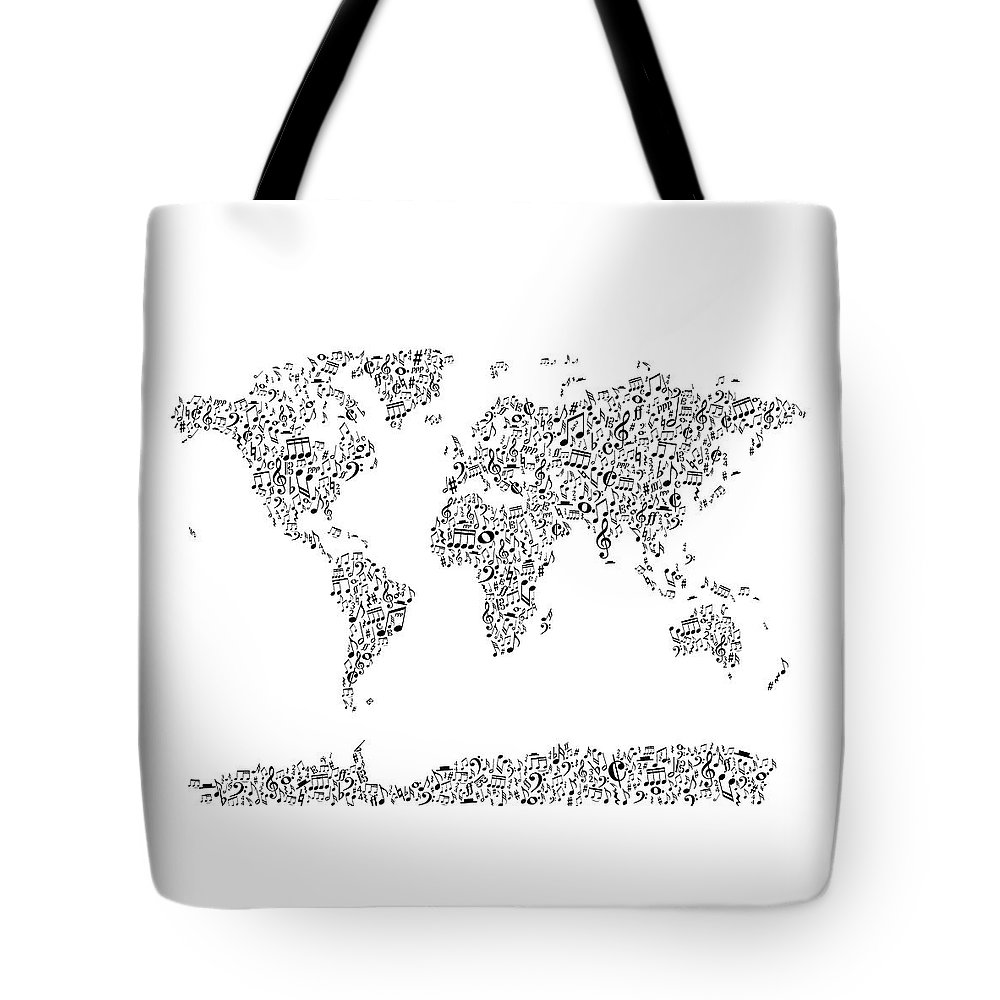 56d84d86912e World Map Tote Bag featuring the digital art Music Notes Map Of The World  by Michael