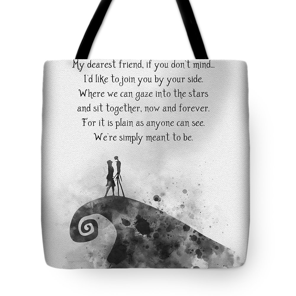Jack Tote Bag featuring the mixed media My Dearest Friend Black And White by My Inspiration