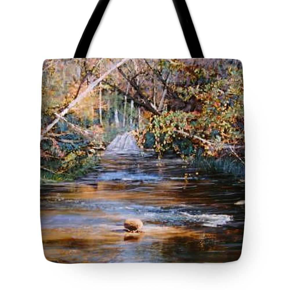 River; Waterfalls Tote Bag featuring the painting My Secret Place by Ben Kiger