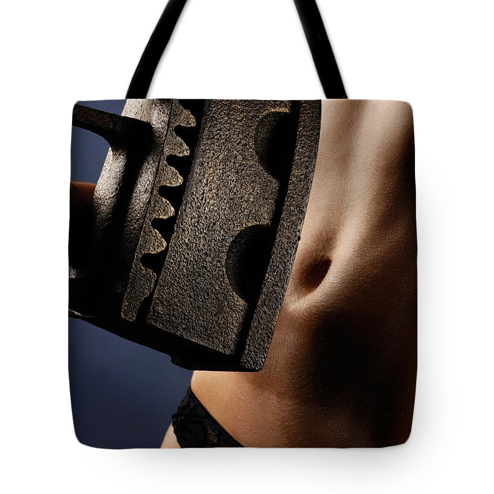 Nude Tote Bag featuring the photograph Naked Woman With An Old Heavy Iron by Oleksiy Maksymenko