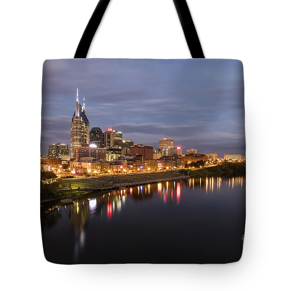 Nashville Skyline Tote Bag featuring the photograph Nashville Tennessee Skyline Sunrise by Jeremy Holmes