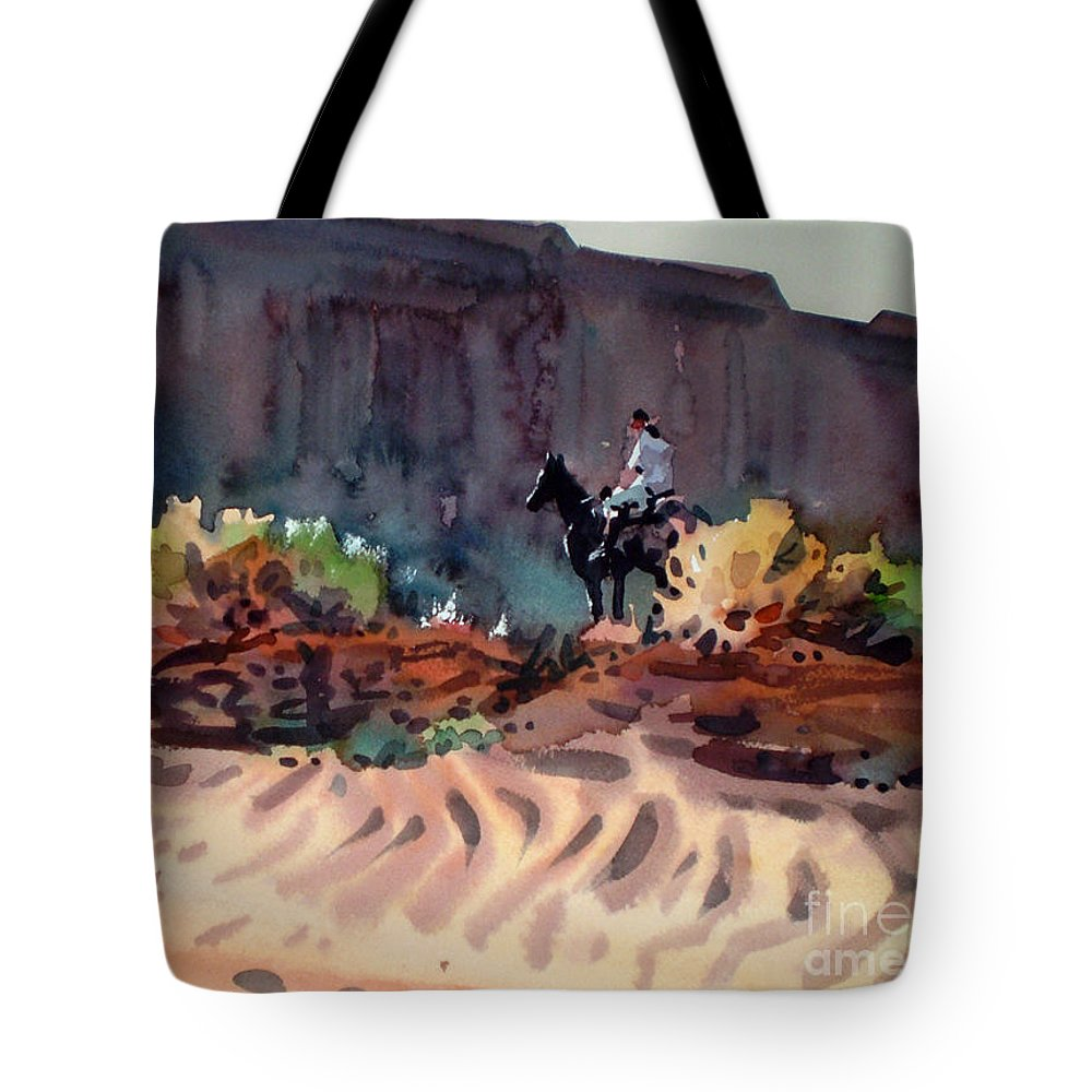 Equestrian Tote Bag featuring the painting Navajo Rider by Donald Maier