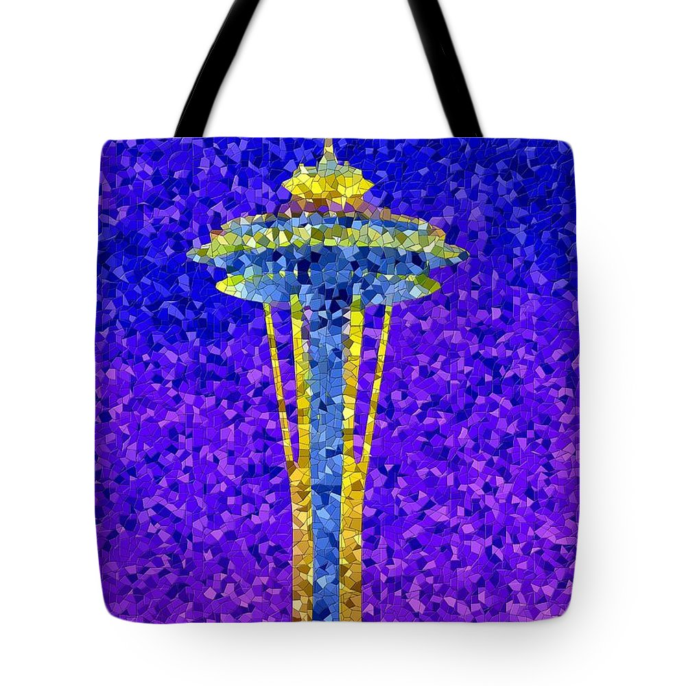 Seattle Tote Bag featuring the photograph Needle In Mosaic by Tim Allen