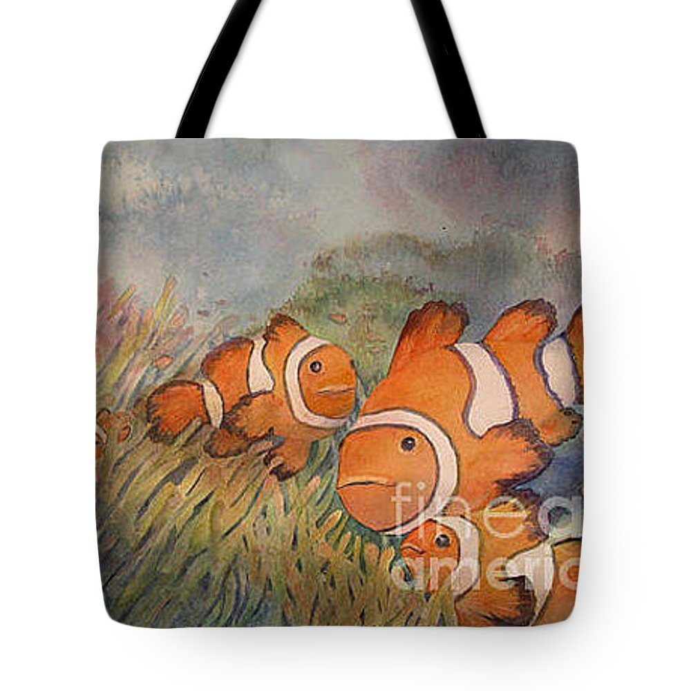 Fish Tote Bag featuring the painting Nemo And Friends by Christine Mulder
