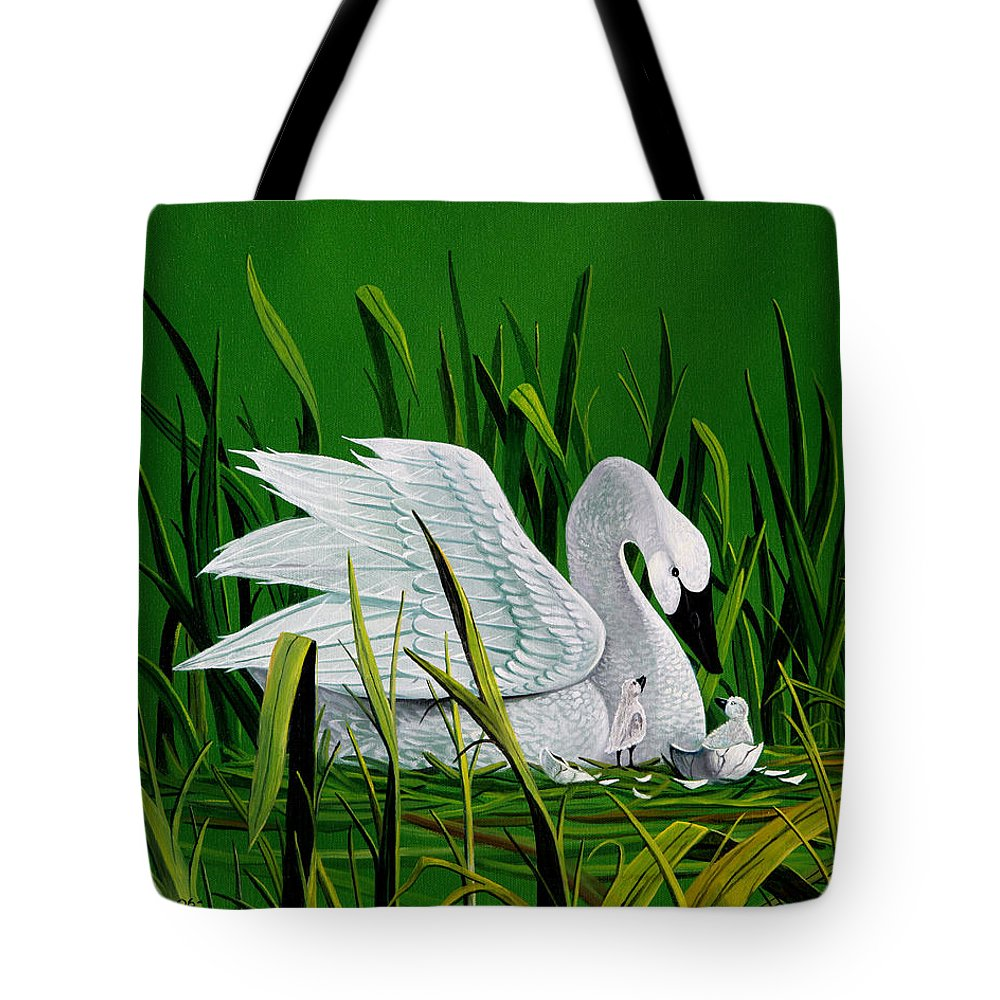 Swan And Babies Tote Bag featuring the painting New Addition by Don Griffiths