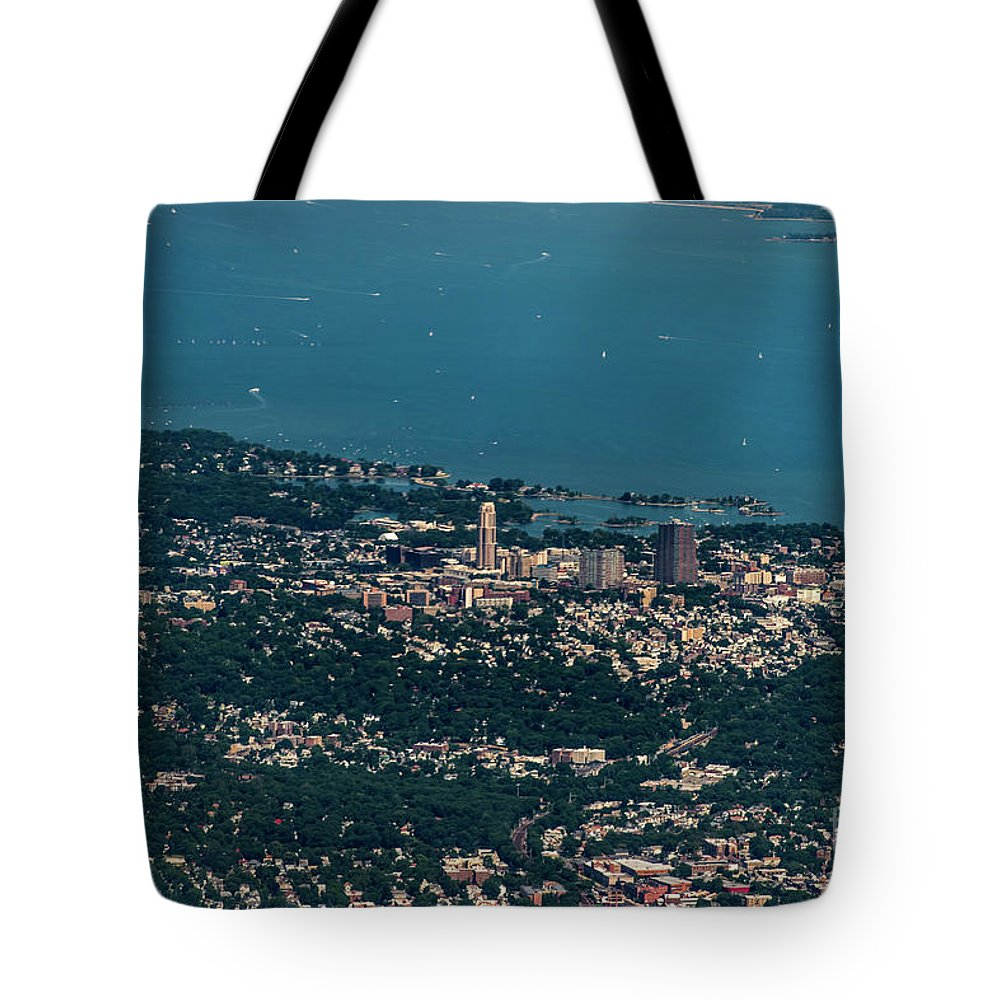 New Rochelle Tote Bag featuring the photograph New Rochelle Real Estate Aerial Photo by David Oppenheimer